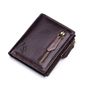 cheap Other Phone Case-Men's Bags Nappa Leather Wallet Zipper for Shopping / Daily Black / Coffee / Fall & Winter