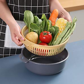povoljno Sokovnici-perilica za pranje multifunkcionalno dvoslojno odvajanje dizajnerska košara pp materijal za pranje košara s voćem povrće voće deke za kućnu kuhinju