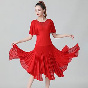 cheap Latin Dancewear-Latin Dance Skirts Cascading Ruffles Ruching Split Joint Women's Training Performance Short Sleeve Natural Polyester