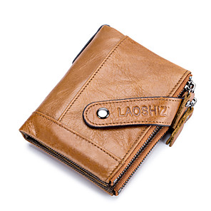 cheap Other Phone Case-Men's Bags Nappa Leather Wallet Zipper for Shopping / Daily Earth Yellow / Black / Coffee
