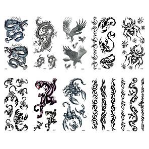 cheap Tattoo Stickers-6 Sheets Randomly Tattoo Designs Temporary Tattoos Waterproof Tattoo Stickers Dragon Centipede Totem Design Tattoo StickerM61-M70