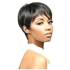 cheap Synthetic Trendy Wigs-Synthetic Wig Natural Straight With Bangs Wig Short Natural Black Synthetic Hair 10 inch Women's Adorable Cool Fashion Black