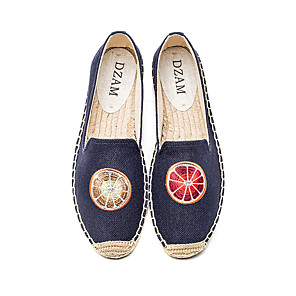 cheap Kids' LED Shoes-Women's Loafers & Slip-Ons Flat Heel Round Toe Casual Basic Daily Canvas Booties / Ankle Boots Walking Shoes Blue / Beige
