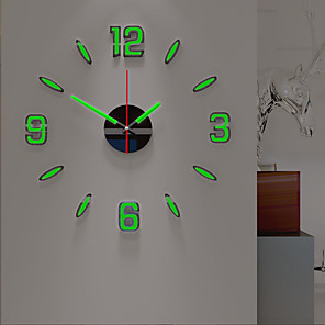 cheap Wall Clocks-Wall Clock Night Luminous DIY Acrylic Round Classic Theme Indoor AA Batteries Powered Decoration Wall Clock