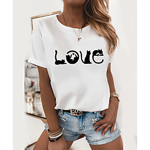 cheap PS4 Accessories-Women's T-shirt Graphic Prints Round Neck Tops Slim 100% Cotton White
