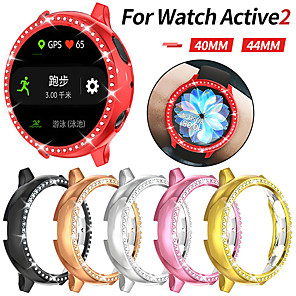cheap Smartwatch Bands-Bling Diamonds Watch Case for Samsung Galaxy Active 2 44mm 40mm Shiny Cover Crystal Bumper PC Plated Hard Protective Frame