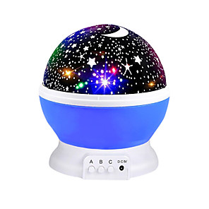 cheap Projectors-Starry Sky Rotating LED Night Light Projector Battery USB Operated Children's Bedroom Night Lamp Moon Projection Light Kids Gift