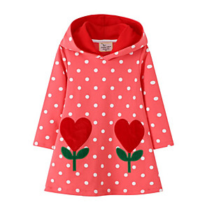 cheap Movie & TV Theme Costumes-Toddler Girls' Polka Dot Long Sleeve Dress Red