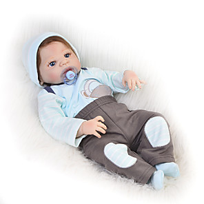 cheap Reborn Doll-KEIUMI 22 inch Reborn Doll Baby & Toddler Toy Reborn Toddler Doll Baby Boy Gift Cute Washable Lovely Parent-Child Interaction Full Body Silicone 23D60-C234 with Clothes and Accessories for Girls