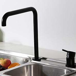 cheap Kitchen Faucets-Kitchen Faucet Single Handle 2 Hole Modern Commercial Sink Faucet High Arc 7 Shape Spout Deck Mounted Contemporary Kitchen Taps Black