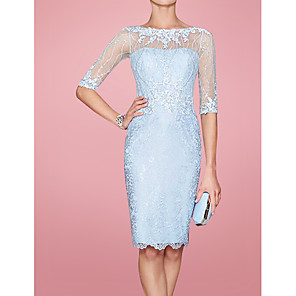 cheap Buy More, Save More-Sheath / Column Mother of the Bride Dress Elegant Jewel Neck Knee Length Lace 3/4 Length Sleeve with Embroidery 2020