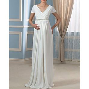 cheap Movie & TV Theme Costumes-Sheath / Column Wedding Dresses V Neck Sweep / Brush Train Chiffon Cap Sleeve Simple with Ruched 2020