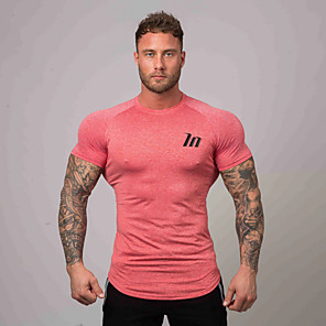 cheap Running & Jogging Clothing-Men's Running T-Shirt Workout Tops Short Sleeve Breathable Soft Sweat Out Fitness Gym Workout Performance Running Training Sportswear Tee Tshirt Top White Black Blue Red Army Green Green Activewear