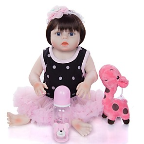 cheap Reborn Doll-KEIUMI 19 inch Reborn Doll Baby & Toddler Toy Reborn Toddler Doll Baby Girl Gift Cute Washable Lovely Parent-Child Interaction Full Body Silicone 19D09-C118-H31-T05 with Clothes and Accessories for