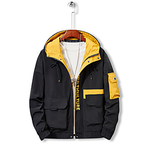 cheap Softshell, Fleece & Hiking Jackets-Men's Hiking Jacket Winter Outdoor Solid Color Thermal / Warm Windproof Breathable Jacket Top Hunting Fishing Climbing White / Black / Yellow / Camping / Hiking / Caving