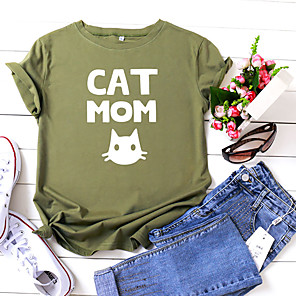 cheap Women's Sandals-Women's T-shirt Animal Letter Print Round Neck Tops 100% Cotton Basic Basic Top Black Yellow Blushing Pink