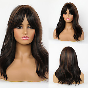 cheap Synthetic Trendy Wigs-Synthetic Wig Natural Wave With Bangs Wig Long Dark Brown Synthetic Hair 20 inch Women's Fashionable Design Life Women Dark Brown