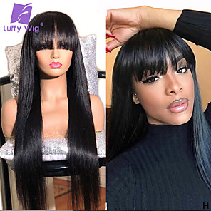 cheap Synthetic Trendy Wigs-Human Hair 100% Hand Tied Wig Neat Bang With Bangs style Brazilian Hair Silky Straight Natural Black Wig 150% Density Women Medium Size Natural Hairline For Black Women Women's Long Medium Length