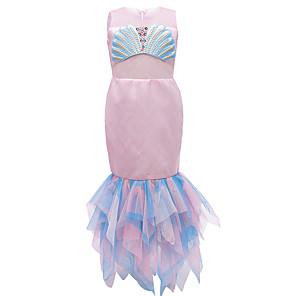 cheap Movie & TV Theme Costumes-The Little Mermaid Princess Dress Flower Girl Dress Girls' Movie Cosplay A-Line Slip Pink Dress Halloween Children's Day Masquerade Polyester