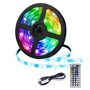 cheap LED Strip Lights-USB LED Light Strip 5m 300 LEDs 20 Multi Colors 2835 RGB LED Light Strip 44-Key Remote Control for Home Kitchen Party Christmas Decoration
