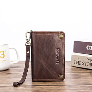 cheap Other Phone Case-Men's Bags Nappa Leather Wallet Zipper for Shopping / Daily Black / Brown