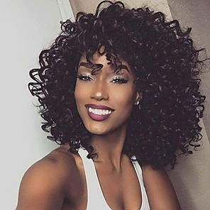 cheap Synthetic Lace Wigs-Synthetic Wig Afro Curly Asymmetrical Wig Long Brown Synthetic Hair 16 inch Women's Fashionable Design Exquisite Fluffy Black
