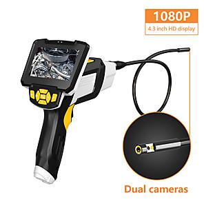 cheap Microscopes & Endoscopes-Draagbare Dual Lens Handheld Endoscoop 4.3 &quotScreen Inspectie Camera Met 6 Led 8Mm Industrile Digitale Endoscopie