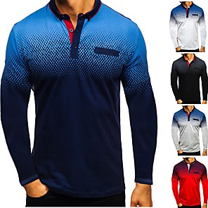 cheap Golf, Tennis & Badminton-Men's Golf Polo Shirts Long Sleeve Breathable Quick Dry Soft Athleisure Outdoor Autumn / Fall Summer Winter Cotton Solid Color White Black Red Grey Dark Navy / Micro-elastic