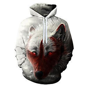 cheap Everyday Cosplay Anime Hoodies & T-Shirts-Men's Hoodie Graphic Casual Hoodies Sweatshirts  White