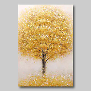 cheap Abstract Paintings-Oil Painting Hand Painted - Abstract Abstract Landscape Comtemporary Modern Stretched Canvas Beige Trees