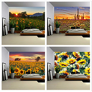 cheap Wall Murals-Cilected Sunflower Flower Sea Tapestry Wall Hanging Polyester Thin Section Pastoral Landscape Painting Sofa Towel Blanket