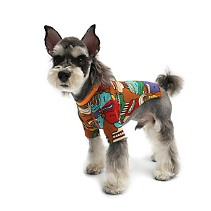 cheap Dog Clothes-Dog Shirt / T-Shirt Pajamas Cartoon Casual / Sporty Cute Sports Casual / Daily Dog Clothes Warm Black Yellow Costume Cotton S M L XL XXL