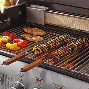 cheap Cooking Utensils-Grilling Basket Kabob Skewer Stainless Steel for Fish Vegetable Onion Chicken and Meat