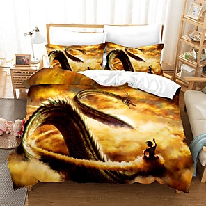 cheap Art Crafts-Home Textiles 3D Bedding Set  Duvet Cover with Pillowcase 2/3pcs Bedroom Duvet Cover Sets  Bedding Dragon Ball