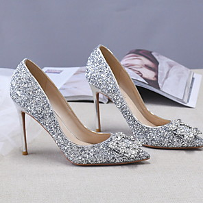 cheap Wedding Shoes-Women's Heels Spring / Summer Stiletto Heel Pointed Toe Daily PU Silver