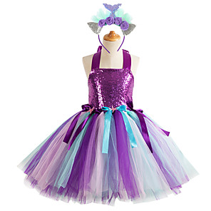 cheap Movie & TV Theme Costumes-Kids Girls' Flower Sophisticated Rainbow Halloween Sequins Layered Patchwork Sleeveless Knee-length Dress Purple