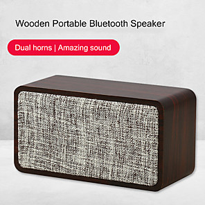 cheap Portable Speakers-Q2 Bluetooth Speaker Cloth Wooden 1200mAh Dual Horn 6W Wireless Subwoofer Portable Bass Column Home Living Speakers