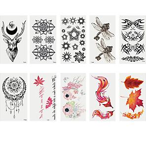 cheap Tattoo Stickers-6 Sheets Randomly Tattoo Designs Temporary Tattoos Fashion Body Art Adults Waterproof Hand Fake Tatoo Deer Maple Leaf Fox Dragon Fly Creative Shape Tattoo DesignT01-T10