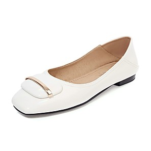 cheap Women's Heels-Women's Flats Spring / Fall Flat Heel Square Toe Business British Daily Outdoor PU Almond / White / Black