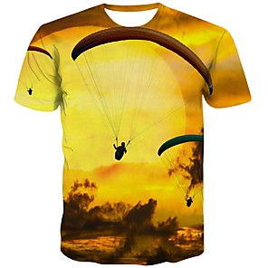 cheap novelty kitchen tools-Men's T-shirt Graphic Print Short Sleeve Tops Streetwear Round Neck Gold