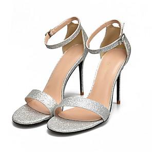 cheap Women's Heels-Women's Sandals Summer Stiletto Heel Round Toe Daily PU Black / Silver