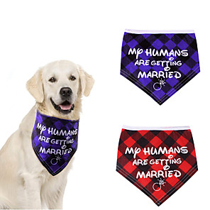 cheap Dog Clothes-Dog Cat Bandanas & Hats Dog Bandana Dog Bibs Scarf Plaid / Check Letter & Number Casual / Sporty Cute Christmas Wedding Dog Clothes Adjustable Costume Cotton Polyster M