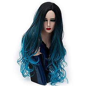 cheap Synthetic Trendy Wigs-Cosplay Costume Wig Synthetic Wig Ombre Curly Cosplay Middle Part Wig Ombre Long Pink / Purple Blue Purple / Pink / Blue Black / Green Rainbow Synthetic Hair 28 inch Women's Cosplay Party Ombre