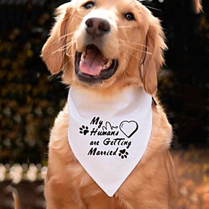 cheap Dog Clothes-Dog Cat Bandanas & Hats Dog Bandana Dog Bibs Scarf Letter & Number Casual / Sporty Cute Wedding Sports Dog Clothes Adjustable White Costume Cotton M