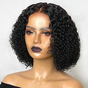 cheap Colored Hair Weaves-Remy Human Hair Lace Front Wig Middle Part Side Part Free Part style Brazilian Hair Kinky Curly Natural Wig 150% Density Classic Women Hot Sale Middle Part Bob Natural Hairline Women's Short Human