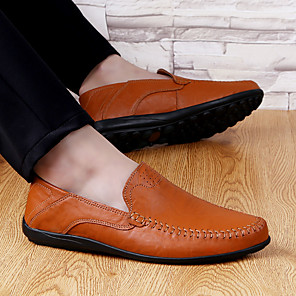 cheap Men's Slip-ons & Loafers-Men's Summer / Fall Business / Vintage / British Daily Office & Career Loafers & Slip-Ons Leather Breathable Wear Proof Light Brown / Dark Brown / Black