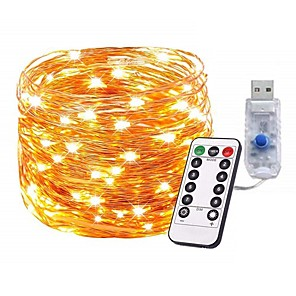 cheap LED Strip Lights-10m 100Leds Copper Wire LED String Lights Starry Lights Christmas Fairy lights Battery Powered Remote Controller New Year Wedding