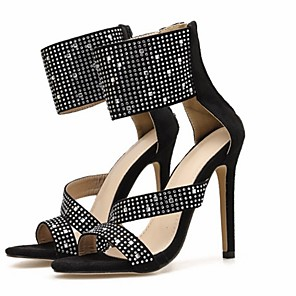cheap Women's Sandals-Women's Sandals Summer Stiletto Heel Open Toe Daily Solid Colored PU Black / Blue