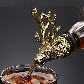 cheap Barware-Wine Liquor Spirit Pourer Animal Head Stainless Steel Unique Bottle Stoppers Aerators Bar Tools