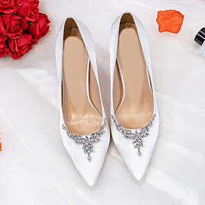 cheap Latin Shoes-Women's Heels Spring / Fall Pumps Pointed Toe Wedding Party & Evening Crystal Satin White / Black / Red